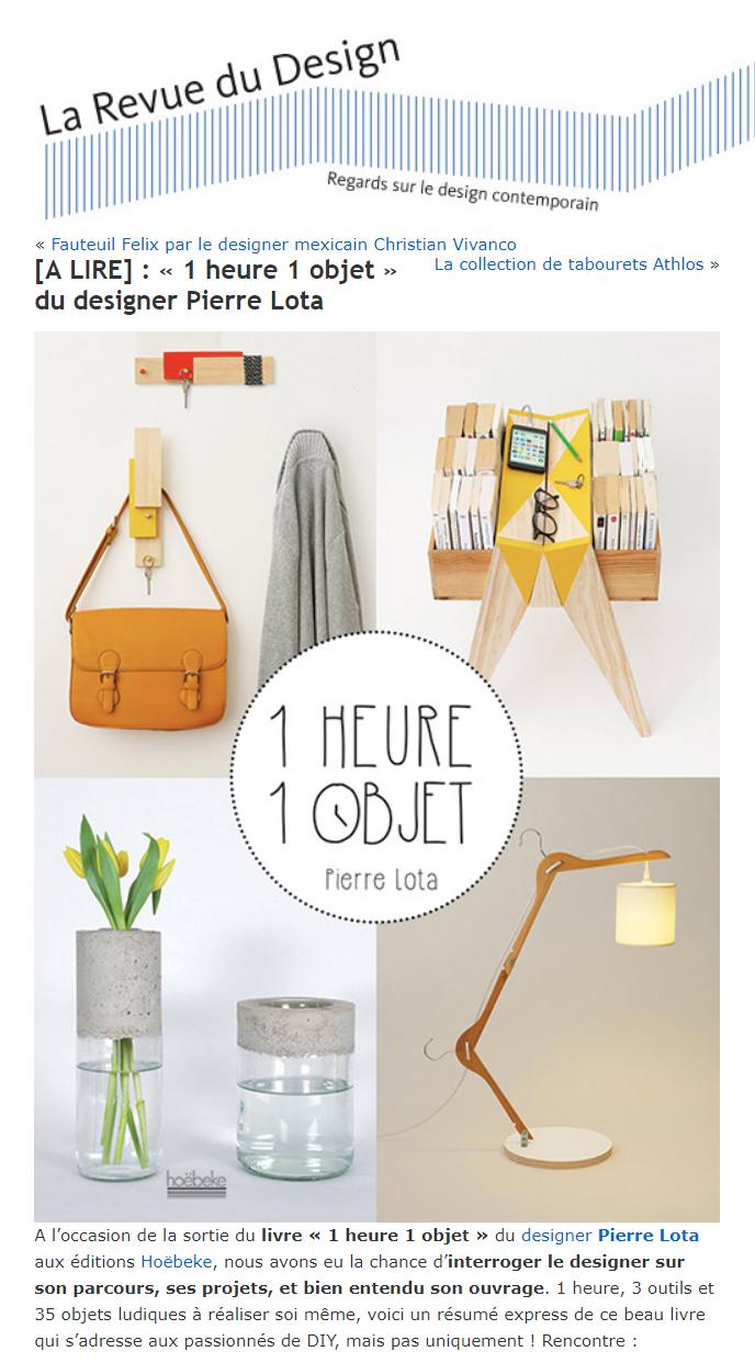 revue de presse du livre 1 heure 1 objet pierre lota. Black Bedroom Furniture Sets. Home Design Ideas